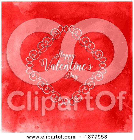 Clipart of a Diamond Swirl Frame with Happy Valentines Day Text over Red Watercolor - Royalty Free Vector Illustration by KJ Pargeter
