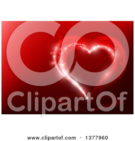 Clipart Of A Background Of A Magical Valentine Love Heart On Red Royalty Free Vector Illustration