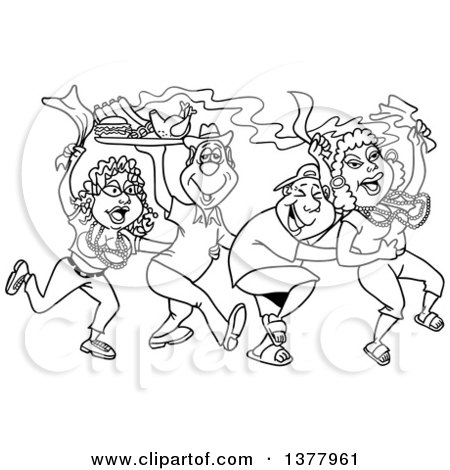 Clipart of a Black and White Dancing Line of Mardi Gras People Having a Blast and Carrying Hot Bbq Food - Royalty Free Vector Illustration by LaffToon