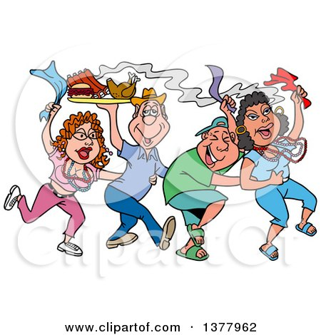 Clipart of a Dancing Line of Mardi Gras People Having a Blast and Carrying Hot Bbq Food - Royalty Free Vector Illustration by LaffToon
