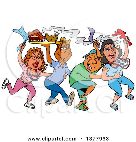 Clipart of a Dancing Line of Mardi Gras Couples Having a Blast and Carrying Hot Bbq Food - Royalty Free Vector Illustration by LaffToon