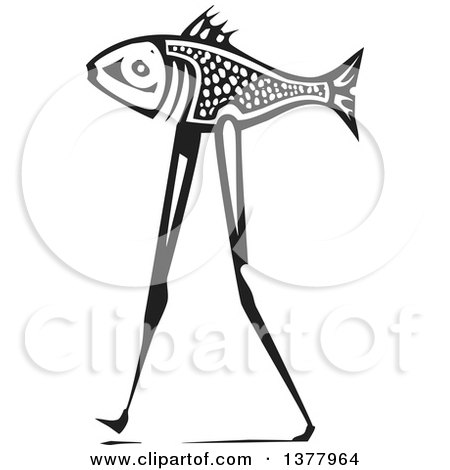 Clipart of a Black and White Woodcut Walking Fish - Royalty Free Vector Illustration by xunantunich
