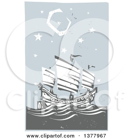 Clipart of a Woodcut Chinese Junk Ship at Sea Under a Night Sky - Royalty Free Vector Illustration by xunantunich