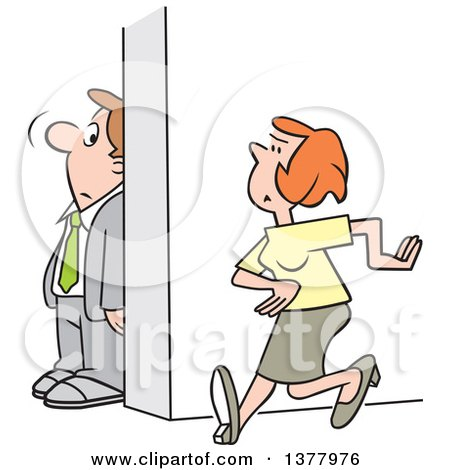 Clipart of a Cartoon White Businessman Hiding Behind a Wall to Avoid a Woman - Royalty Free Vector Illustration by Johnny Sajem