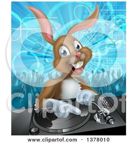 Clipart of a Happy Brown Bunny Rabbit Dj over a Turntable Against a Dance Floor - Royalty Free Vector Illustration by AtStockIllustration
