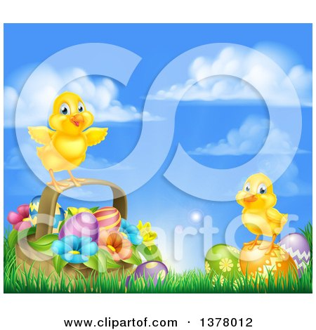 Clipart of a Cute Yellow Chicks on Easter Eggs and a Basket in the Grass, over a Sunny Sky - Royalty Free Vector Illustration by AtStockIllustration