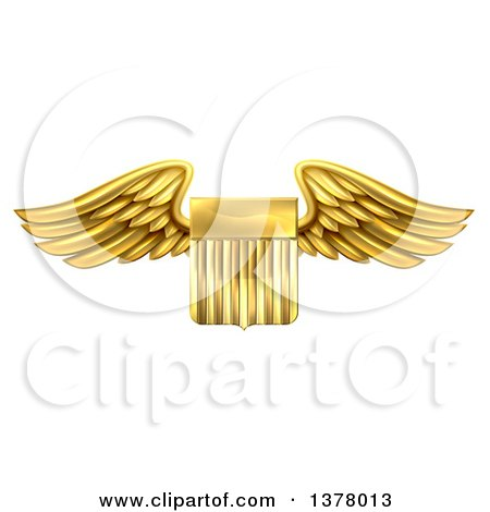 Clipart of a Shiny Winged Gold Metal United States Flag Shield - Royalty Free Vector Illustration by AtStockIllustration