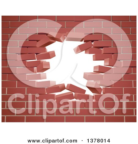 Clipart of a Breaking Brick Wall with a Hole - Royalty Free Vector Illustration by AtStockIllustration