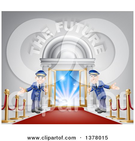 Clipart of a VIP Venue Entrance with Welcoming Friendly Doormen, Red Carpet, Posts and the Future Text - Royalty Free Vector Illustration by AtStockIllustration