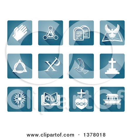 Clipart of White Christian Icons on Blue Square Tiles - Royalty Free Vector Illustration by AtStockIllustration