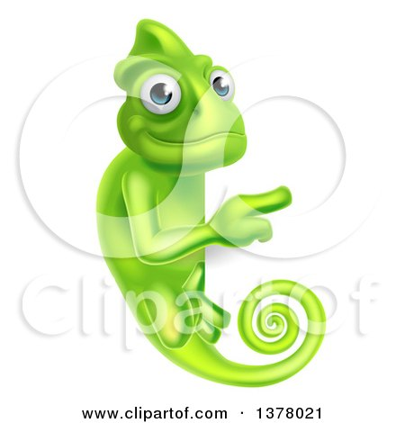 Clipart of a Happy Green Chameleon Lizard Pointing Around a Sign - Royalty Free Vector Illustration by AtStockIllustration