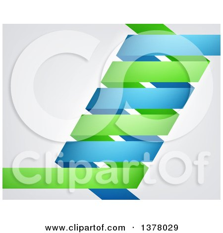 Clipart of a Blue and Green Dna Double Helix over Gray - Royalty Free Vector Illustration by AtStockIllustration