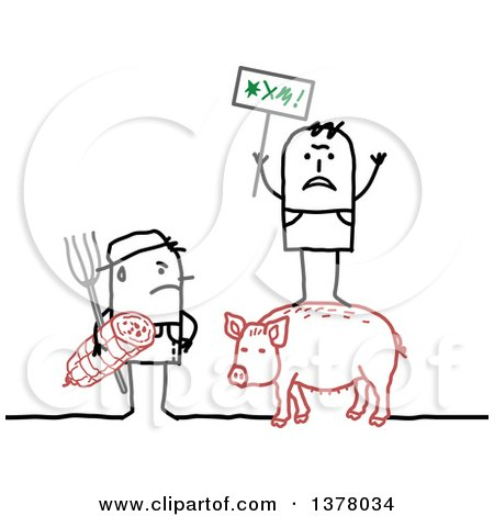 Clipart Of A Stick Farmer Holding A Ham And Glaring At A Protestor Standing On A Pig Royalty Free Vector Illustration