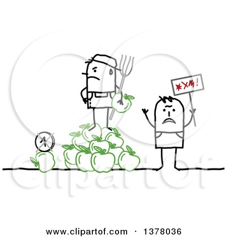 Clipart of a Stick Farmer Holding a Pitchfork and Standing on a Bunch of Apples Next to a Protestor - Royalty Free Vector Illustration by NL shop