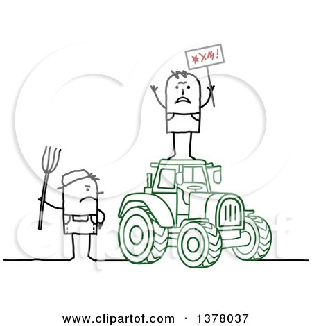 Clipart Of A Stick Farmer Holding A Pitchfork And Glaring At A Protestor On Top Of A Tractor Royalty Free Vector Illustration
