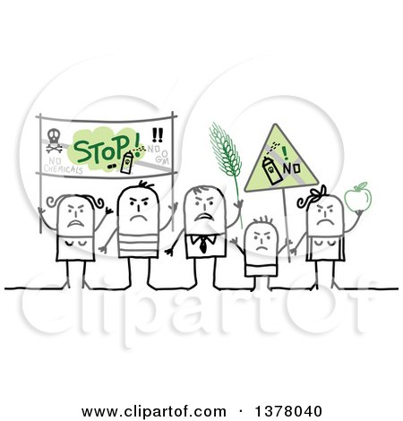 Clipart Of A Group Of Activists Protesting Against Gmos Royalty Free Vector Illustration