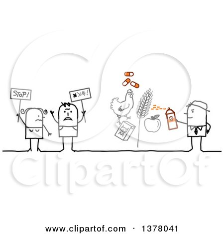 Clipart of a Group of Activists Protesting Pesticide and Antiobiotics in Farming - Royalty Free Vector Illustration by NL shop