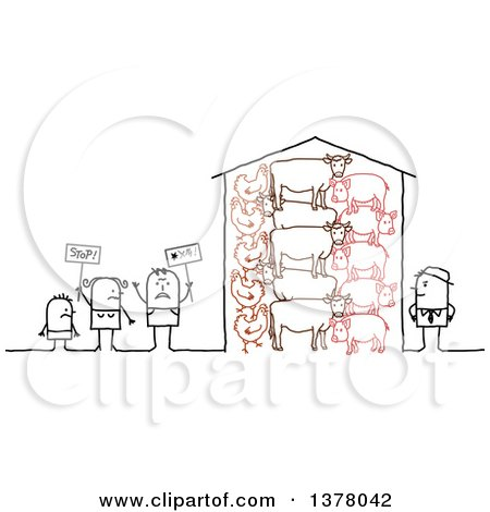 Clipart of a Group of Activists Protesting Farm Animal Cruelty - Royalty Free Vector Illustration by NL shop