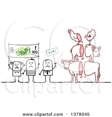 Clipart of a Group of Activists Protesting Animal Slaughtering - Royalty Free Vector Illustration by NL shop