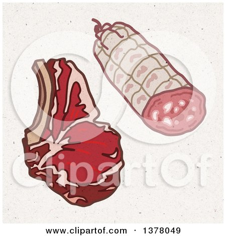 Clipart of a Beef Steak and Pork Ham on Fiber Texture - Royalty Free Illustration by NL shop