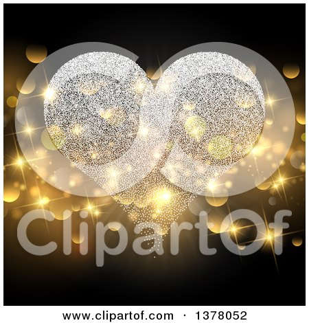 Clipart Of A Magical Sparkle Heart With Gold Bokeh Flares Royalty Free Vector Illustration