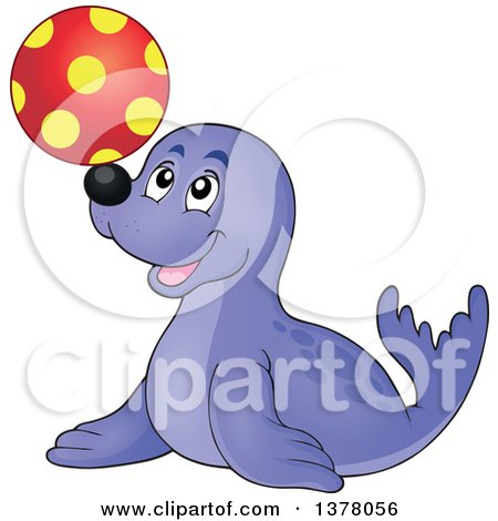 Clipart of a Happy Seal Playing with a Ball - Royalty Free Vector Illustration by visekart