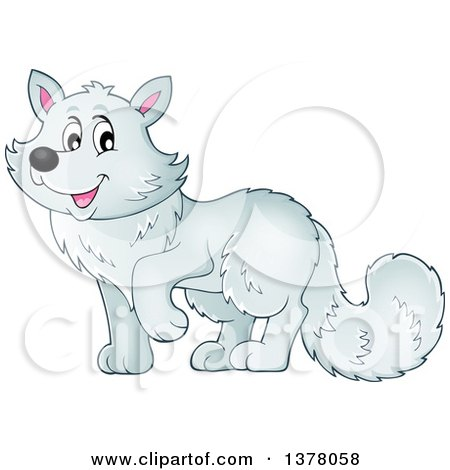 Clipart of a Happy Arctic Fox - Royalty Free Vector Illustration by visekart