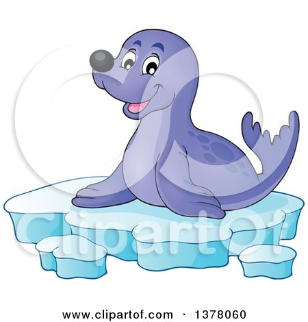 Happy Seal Sitting on Ice Posters, Art Prints