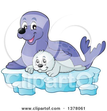Happy Seal and Pup Sitting on Ice Posters, Art Prints
