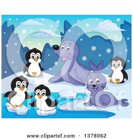 Clipart of a Happy Seals and Penguins Playing in the Snow - Royalty Free Vector Illustration by visekart