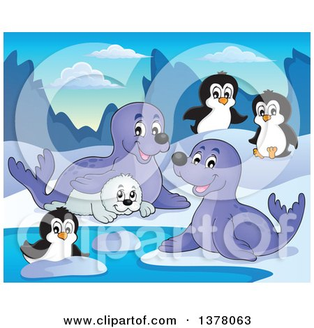 Clipart of a Happy Seals and Penguins Playing - Royalty Free Vector Illustration by visekart