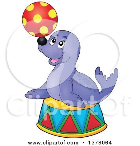 Clipart of a Happy Seal Playing with a Ball on a Podium - Royalty Free Vector Illustration by visekart