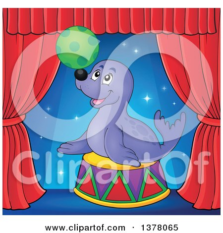 Clipart of a Happy Seal Playing with a Ball on Stage - Royalty Free Vector Illustration by visekart
