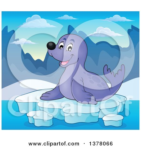 Clipart of a Happy Seal Sitting on Ice - Royalty Free Vector Illustration by visekart