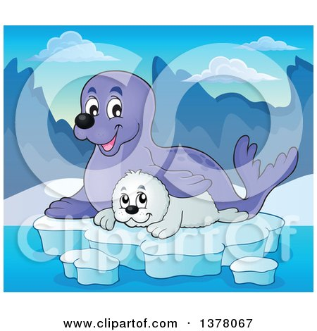 Clipart of a Happy Seal and Pup Sitting on Ice - Royalty Free Vector Illustration by visekart