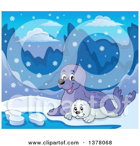 Clipart of a Happy Seal and Pup Sitting in the Snow - Royalty Free Vector Illustration by visekart