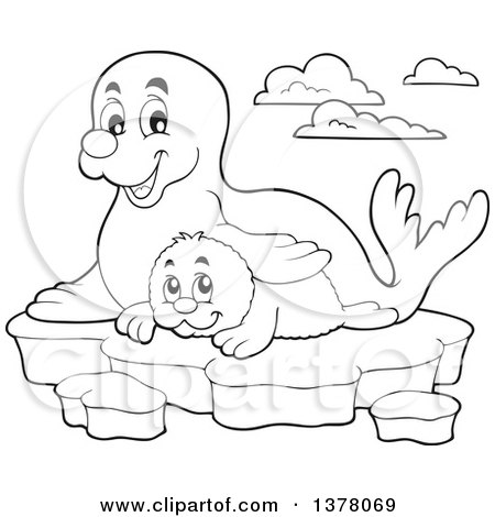 Clipart of a Black and White Happy Seal and Pup Sitting on Ice - Royalty Free Vector Illustration by visekart