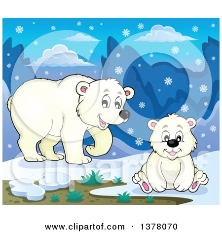 Clipart of a Polar Bear and Cub in the Snow - Royalty Free Vector Illustration by visekart