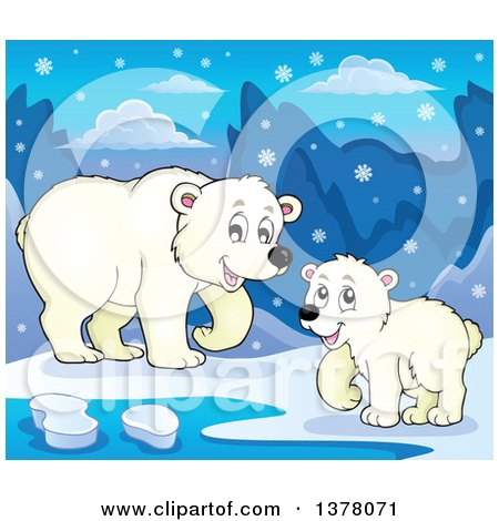 Clipart of a Polar Bear and Cub by Water in the Snow - Royalty Free Vector Illustration by visekart