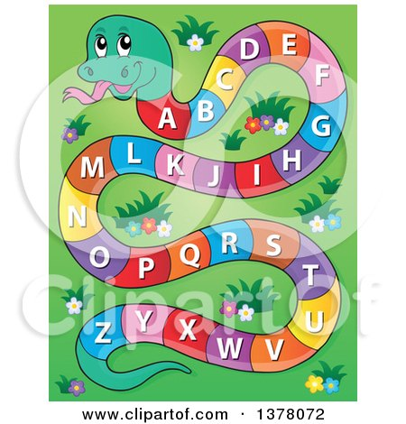 Clipart of a Happy Snake with an Alphabet Body over Grass - Royalty Free Vector Illustration by visekart