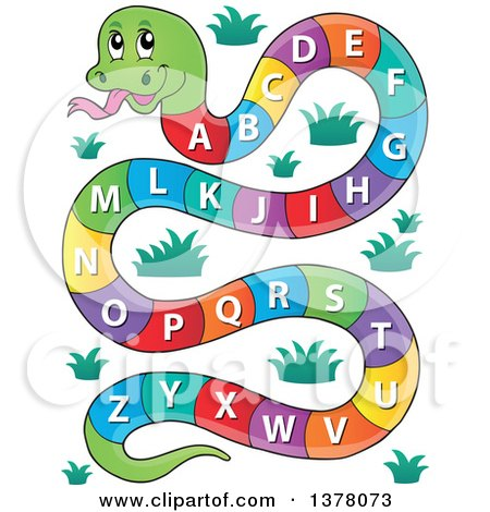 Clipart of a Happy Snake with an Alphabet Body - Royalty Free Vector Illustration by visekart
