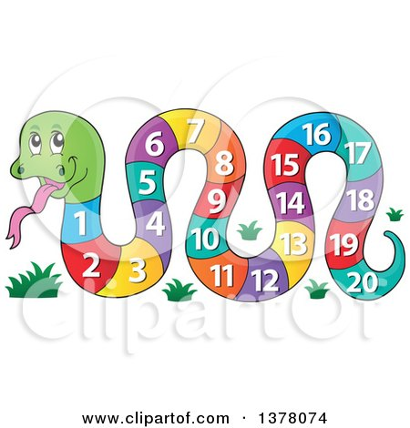 Clipart of a Happy Snake with a Number Body - Royalty Free Vector Illustration by visekart