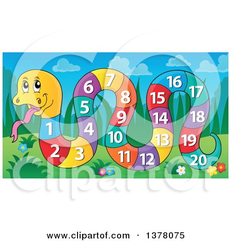 Clipart of a Happy Snake with a Number Body on a Sunny Day - Royalty Free Vector Illustration by visekart