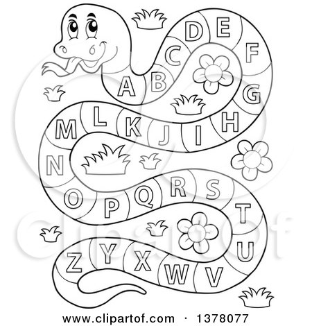 Clipart of a Black and White Happy Snake with an Alphabet Body - Royalty Free Vector Illustration by visekart