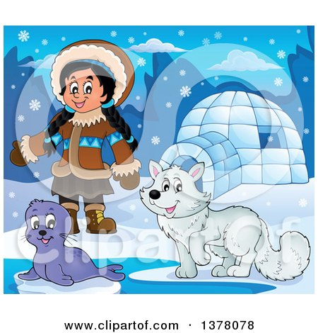 Clipart of a Happy Inuit Eskimo Girl Presenting by a Seal Pup, Fox and an Igloo - Royalty Free Vector Illustration by visekart