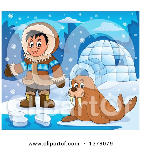 Clipart of a Happy Inuit Eskimo Boy Presenting by a Walrus and an Igloo - Royalty Free Vector Illustration by visekart
