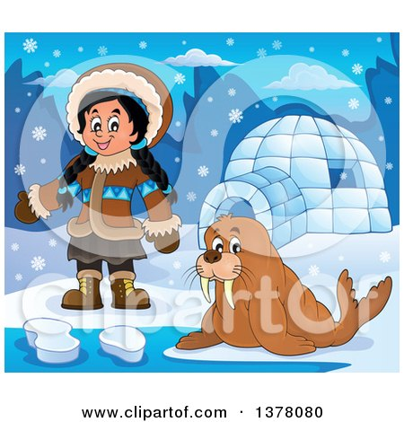 Clipart of a Happy Inuit Eskimo Girl Presenting by a Walrus and an Igloo - Royalty Free Vector Illustration by visekart