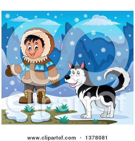 Clipart of a Happy Inuit Eskimo Boy Presenting by a Husky Dog and an Igloo - Royalty Free Vector Illustration by visekart