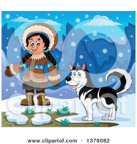 Clipart of a Happy Inuit Eskimo Girl Presenting by a Husky Dog and an Igloo - Royalty Free Vector Illustration by visekart