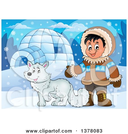 Clipart of a Happy Inuit Eskimo Boy Presenting by a Fox and an Igloo - Royalty Free Vector Illustration by visekart